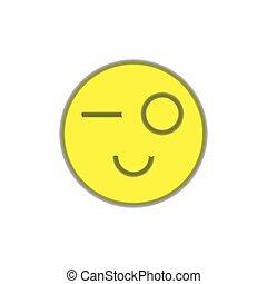 fondo., bianco, wink., sorriso
