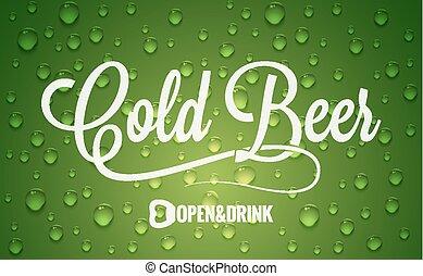 fondo, birra, disegno, bottiglia, logotipo, freddo, gocce