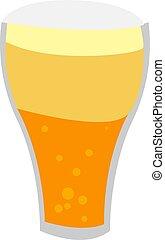 fondo., birra, vetro, vettore, bianco, illustrazione