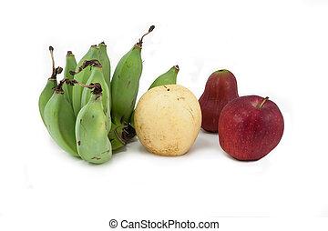 fondo blanco, aislado, colección, fruits