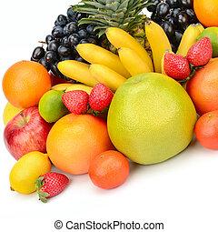 fondo., blanco, aislado, fruits