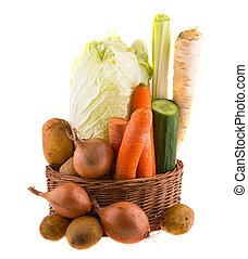 fondo., blanco, aislado, vegetales