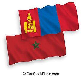 fondo blanco, banderas, mongolia, marruecos