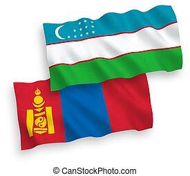 fondo blanco, banderas, mongolia, uzbekistán