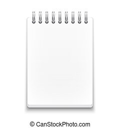 fondo., blanco, cuaderno, espiral, blanco