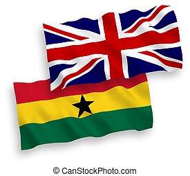 fondo blanco, grande, banderas, gran bretaña, ghana