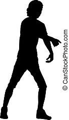 fondo blanco, hombre, siluetas, levantado, negro, brazo
