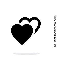 fondo., blanco, icono, dos corazones