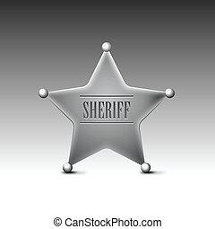 fondo., blanco, insignia, eps10, sheriff's