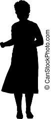 fondo blanco, mujer, siluetas, levantado, negro, brazo