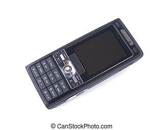 fondo., blanco, teléfono negro