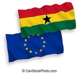 fondo blanco, unión europea, banderas, ghana