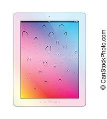 fondo., blanco, vector, computadora personal tableta