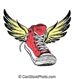 fondo blanco, zapatillas, aislado, alas