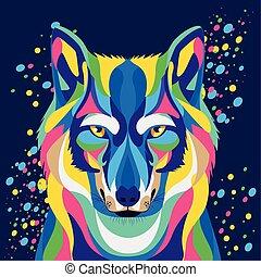 fondo, blu, vita selvaggia, lupo, technicolor