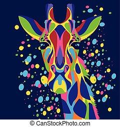 fondo, blu, vita selvaggia, technicolor, giraffa