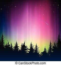 fondo, bokeh, silhouette, foresta, colorito
