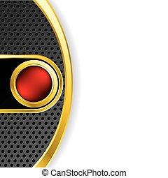 fondo, botón, resumen, rojo