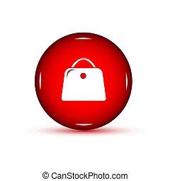 fondo., bottone, bianco rosso, borsa