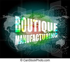 fondo, boutique, parole, tocco, manifatturiero, tecnologia,...