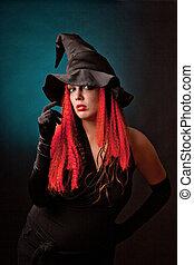 fondo., bruja, practica, negro, brujería