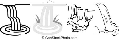 fondo, cadere, acqua, icona, bianco