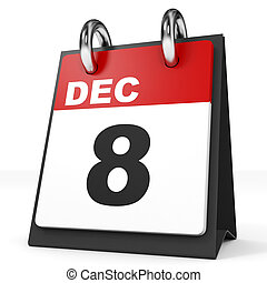 fondo., calendario, december., blanco, 8