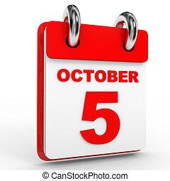 fondo., calendario, octubre, 5, blanco