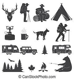 fondo., campamento, aislado, blanco, iconos, conjunto