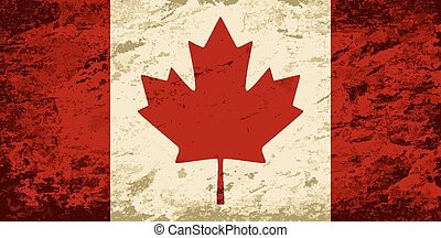 fondo., canadese, grunge, bandiera