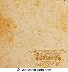 fondo., carta, vecchio, pattern.vintage, macchina scrivere