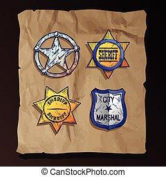 fondo., carta, vecchio, stelle, sceriffo