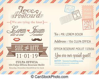 fondo, cartolina, vendemmia, matrimonio, vettore, posta aerea, sagoma, invito, scheda