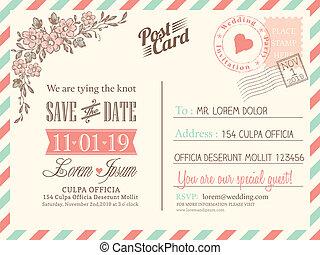 fondo, cartolina, vendemmia, matrimonio, vettore, sagoma, invito