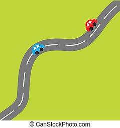 fondo, cartone animato, automobili, strada, verde