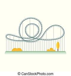 fondo, cartone animato, bianco, rollercoaster, isolato, appartamento, geometrico