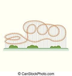 fondo, cartone animato, bianco, rollercoaster, montagne russe, -, arancia, isolato, appartamento