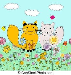 fondo, cartone animato, due, prato, gatti, amore, fiori, farfalle