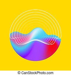 fondo, cerchio, geometrico, eco, astratto, suono
