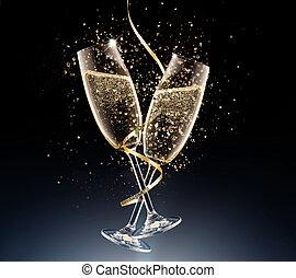 fondo., champagne, nero, occhiali