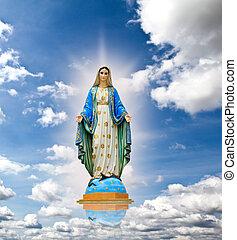 fondo., cielo, maría, estatua, virgen