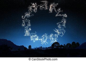 fondo., cielo, sign's, zodíaco