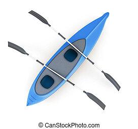 fondo., cima, isolato, kayak, interpretazione, bianco, vista, 3d