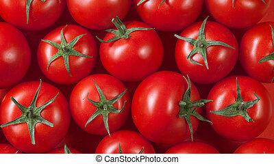 fondo., cima, tomates rojos, vista