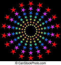 fondo., circolare, colorito, stelle, scoppio