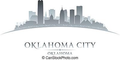 fondo, città oklahoma, silhouette, bianco