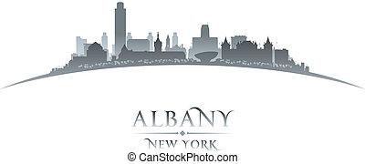 fondo, città, york, albany, nuovo, silhouette, bianco
