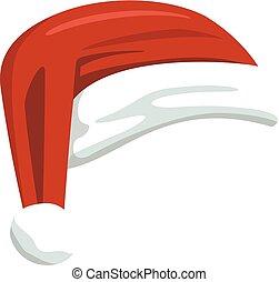 fondo, claus, isolato, santa, cappello bianco, rosso