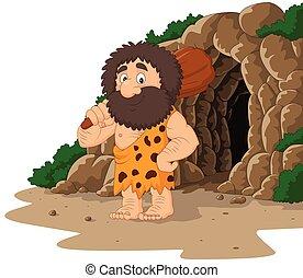 fondo, club, caveman, caverna, presa a terra, cartone animato
