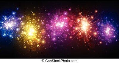 fondo., colorare, festivo, firework